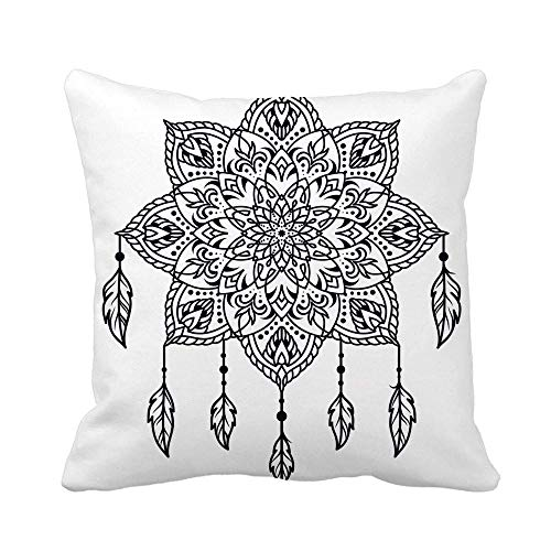 N\A Throw Pillow Cover Dreamcatcher Tattoo para Hombro, Cintura, Hoja, antebrazo, Brazo, Pecho, Funda de Almohada, decoración para el hogar, Funda de Almohada Cuadrada, Funda de cojín
