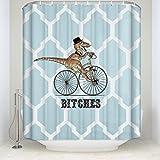 Fashion Design Dinosaurier Fahrrad Geometrie Muster Stoff Duschvorhang 36x 72-waterproof Bad Decor Vorhang, Polyester-Mischgewebe, rot, 36x72