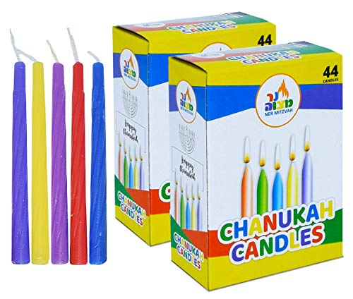 2-Pack Colorful Chanukah Candles - Standard Size Fits Most Menorahs - Premium Quality Wax - Assorted Colors - 2 x 44 Count for All 8 Nights of Hanukkah - by Ner Mitzvah