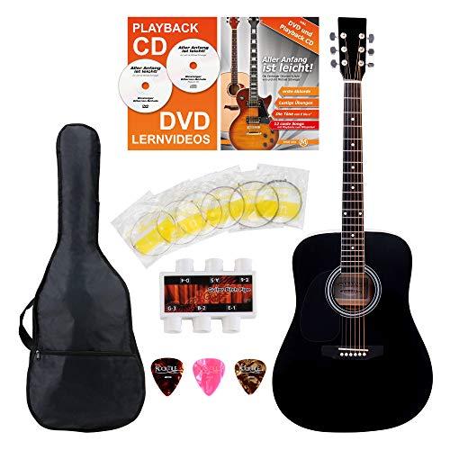 Classic Cantabile guitarra acústica para zurdos kit principiantes incl. set accesorio 5 piezas negro