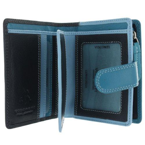 Visconti Leder Rainbow-Kollektion, Geldbörse BALI mit RFID-Schutz RB40 Blau Multi