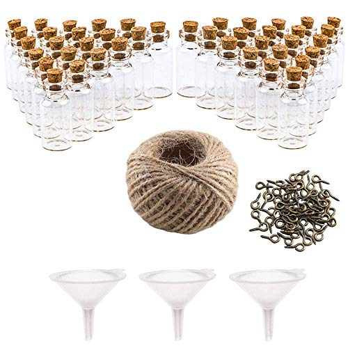 AILANDA 48 Stück Glasfläschchen Kleine Fläschchen 20ml Mini Glasflaschen mit Korken als Muttertag Gastgeschenk Vatertag für Hochzeit Gewürzgläser Set Fläschchen mit Kordel