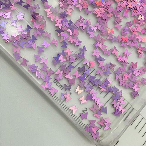 20g 3mm vlindervorm PVC losse pailletten glitter voor nail art manicure/naaien/bruiloft decoratie confetti, ultradunne laser lila, 150g