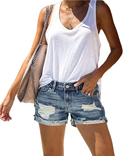 Shorts Trou Denim Ripped Skinny Denim Pantalons Hot Taille Haute Raw Hemline Jean Shorts,Bleu,S