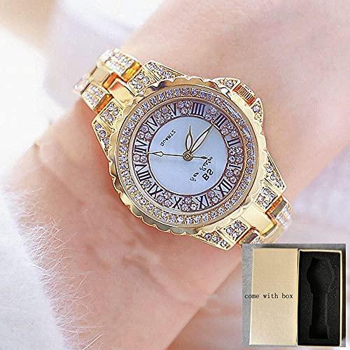 Msltely New Silver Ladies Watch Relojes de Lujo 2020 Reloj Hembra Cuarzo Análogo Acero Inoxidable Diamante Moda Números Romanos Reloj de Pulsera (Color : Gold with Box)