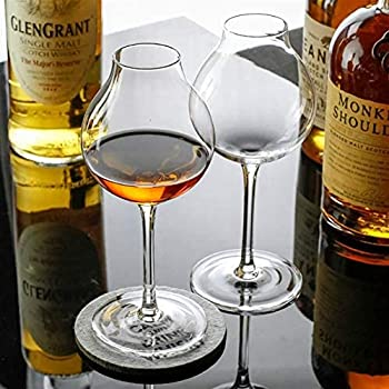 Ryfhdf Super Niche Professional Blender s Whiskey Glass For Bartender Wine Taster Crystal Octomore XO Brandy Liqueur Whisky Goblet Cup  Capacity   245ml Color   2 Pcs Glass