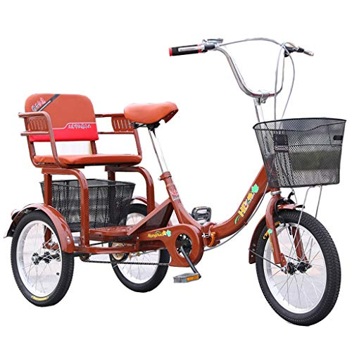 ZNND Bicicletas reclinadas Plegable Triciclo para Adultos Personas Mayores Bicicleta De 3 Ruedas 16 Pulgadas Pedal De Ejercicio Hombres Mujeres con Cesta De La Compra Grande (Color : Brown)