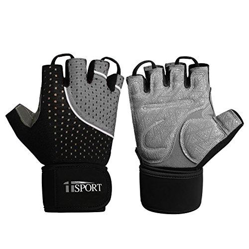 Iisport guanti per sollevamento pesi con cinturino avvolgente sostegno, guanti da allenamento, palestra, Cross per uomini e donne, Uomo, Grey, M