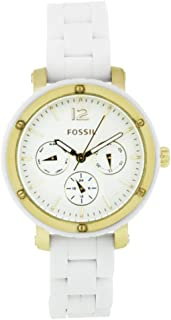 Fossil Women's BQ9405 Silicone Analog with White Dial Watch