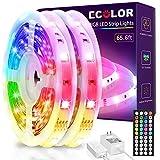 LED Strip Lights for Bedroom, ECOLOR 65.6ft 5050 RGB led Lights with Remote Control, Color Changing Light Strips, led Light Strip for Kitchen Room Party