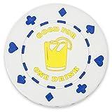 Brybelly Pack of 25 White 1 Drink Bar Token Poker Chips