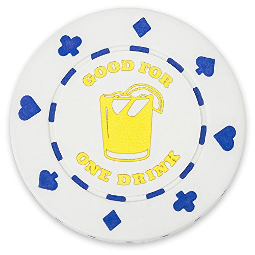 "Pack of 25 White ""1 Drink"" Bar Token Poker Chips by Brybelly"