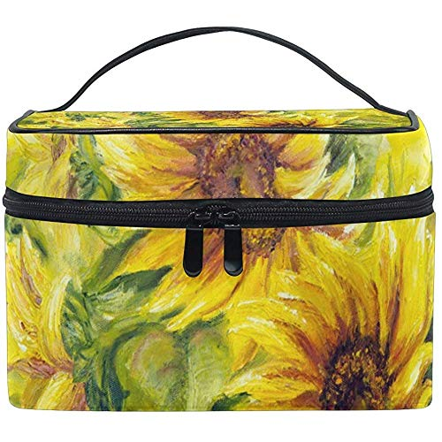 Cosmetic Bag, Sunny Sunflowers Travel Makeup Organizer Bag Cosmetic Case Portable Train Case for Women Girls