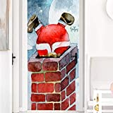 3D,PegatinasPosters,FotoMuraletiqueta De La Puerta Etiqueta De La Puerta De Navidad 3D Etiqueta De La Pared De La Chimenea Del Techo Mural Extraíble-85Cm (W) * 215Cm (H)