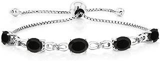 Gem Stone King 925 Sterling Silver Black Onyx and Diamond Adjustable Tennis Bracelet, 4.00 Ctw, 7X5MM Oval Gemstone