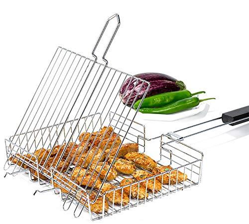 JANRON Grand Grille de Barbecue Griller Réglable Portable avec Brosse en Acier Inoxydable 430 pour Saucisse Poisson, Poignée en Bois Pliable (Grille) - 68 x 32 x 5.5CM(26.7X12.6X2INCH)