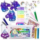 LightSpring Unicorn Slime Kit for Girls - Toy Slime Kit with Fluffy Slime Kit, Unicorn Slime, Charms, Emoji Slime, Floam Beads, Glitter Add Ins - DIY Rainbow Unicorn Slime Making Kit and Accessories