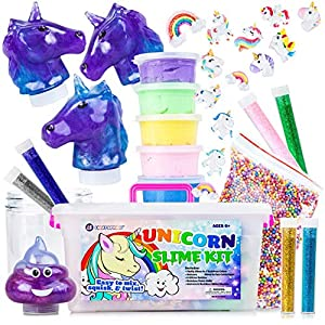 Unicorn Slime Kit for Girls – Toy Slime Kit with Fluffy Slime Kit, Unicorn Slime, Charms, Emoji Slime, Floam Beads, Glitter Add Ins DIY Rainbow Unicorn Slime Making Kit and Slime Accessories