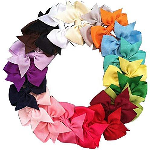 TOOGOO 20Pcs Grand Noeud a La forme de Papillon de Cheveux Boutique Filles Pince de Crocodile Ruban en Faille Bandeau