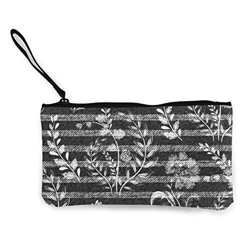 XCNGG Monederos Bolsa de Almacenamiento Shell Denim Floral Pattern Gray Jeans Fashion Coin Purse Bag Canvas Small Change Pouch Multi-Functional Cellphone Bag Wallet Cosmetic Makeup Bag