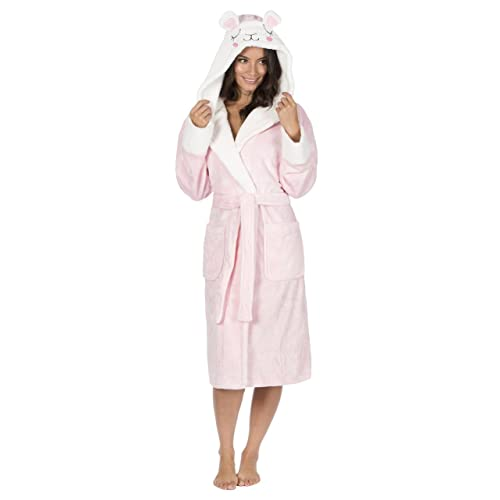 640bfd7813 Forever Dreaming Ladies Pug Dog Hooded Fleece Dressing Gown Bear Animal Robe  Artificial Mink Chunky Shawl