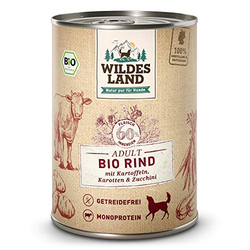 Wildes Land | Nassfutter für Hunde | Bio Rind | 6 x 400 g | Getreidefrei & Hypoallergen | Extra hoher Fleischanteil von 60% | 100% zertifizierte Bio-Zutaten | Beste Akzeptanz und Verträglichkeit