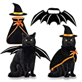 Pet Costume Cat Cosplay Witch Cloak Bat Wings Wizard Hat 3 PCS Pet Clothes for Small Cats Kitten Funny Magical Holiday Decorations for Halloween Theme Party Pumpkin Easter Gift