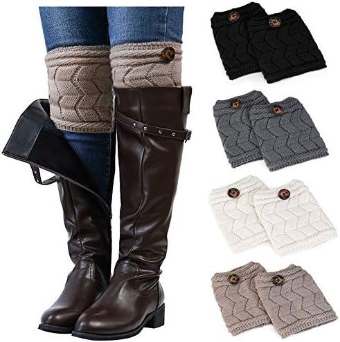 Ordenado 4 Pairs Womens Boot Cuffs Winter Short Crochet Knit Leg Warmers Boot Socks Topper Cuffs product image