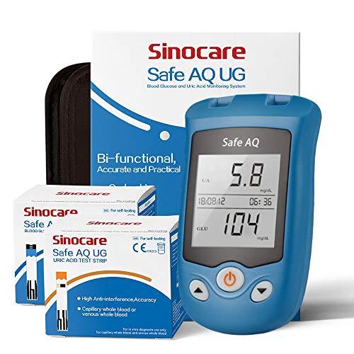 Sinocare Glucosa en sangre y Medidor de ácido úrico Sistema de doble función Monitor de azúcar en la sangre Monitor de ácido úrico in1 Prueba de diabetes mg/dL