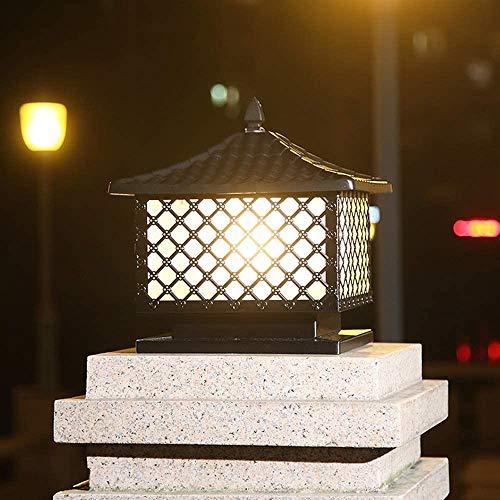 ZSAIMD Mensaje al aire libre del accesorio ligero, de aluminio fundido Valla de luz con paneles de vidrio gota de agua, las luces del paisaje de la lámpara del pilar Columna luminosa E27 al aire libre
