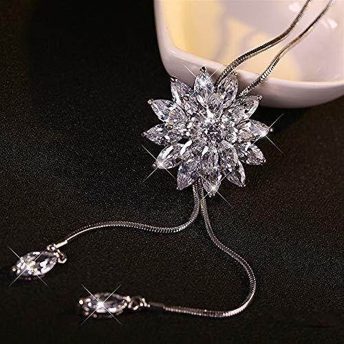 NOLOGO Frauen Zirkonia Blumen-Lange justierbare Kette hängende Strickjacke-Halskette Mode-Strickjacke-Kette für Liebe und Freundschaft (Color : 3A Zirconia)