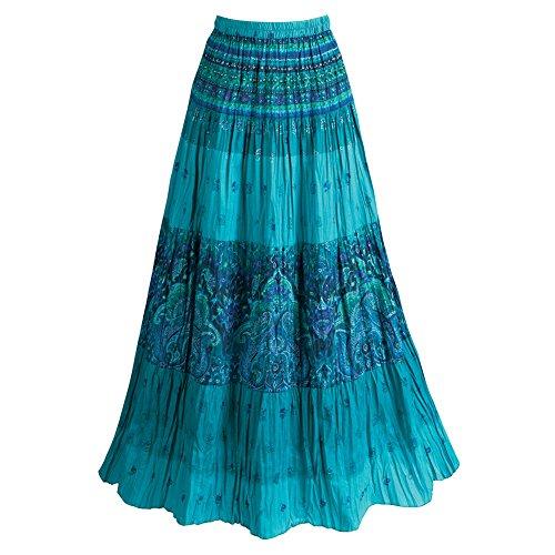 CATALOG CLASSICS Women's Peasant Skirt - Turquoise Blue Tiered Broom Maxi Skirt - Medium