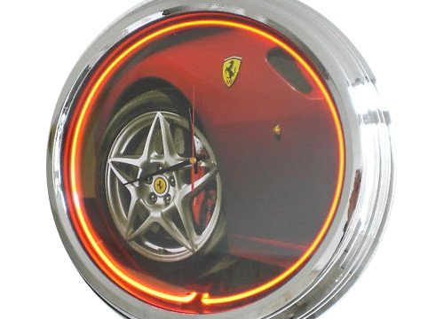 Neon Uhr Ferrari Wanduhr Deko-Uhr Leuchtuhr USA 50's Style Retro Uhr Neonuhr