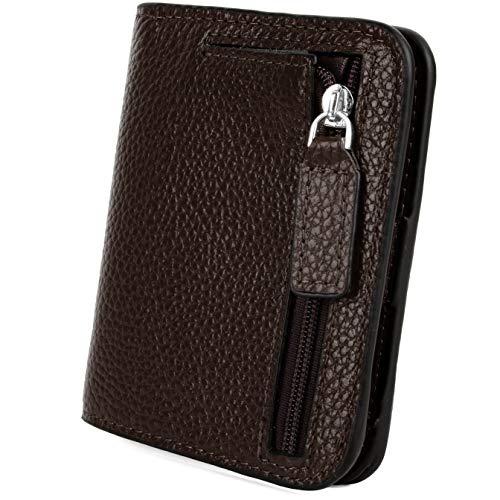 Geldbörse Damen YALUXE RFID Blockieren Dünne Brieftasche Damen Mini 7 Kartensteckplätze ID Fenster Äußere Reißverschluss Münzfach Rosa