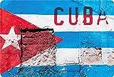 Blechschild Cuba Fahne auf Mauer gemalt Metallschild 20x30 cm Wanddeko tin Sign