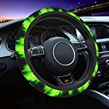 HSXOOW Green Fire Dragon Steering Wheel Cover Universal Fit 15 Inch Elasticity Anti Skid Protection Cover