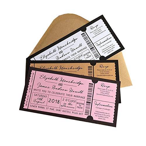 personnalisé Gig/Concert billet d'invitation de mariage avec enveloppes (lot de 20)