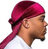 Veeta Superior Velvet Durags (Multiple Colors) - Soft Velvet Fabric   Silky Liner   Long Straps Burgundy