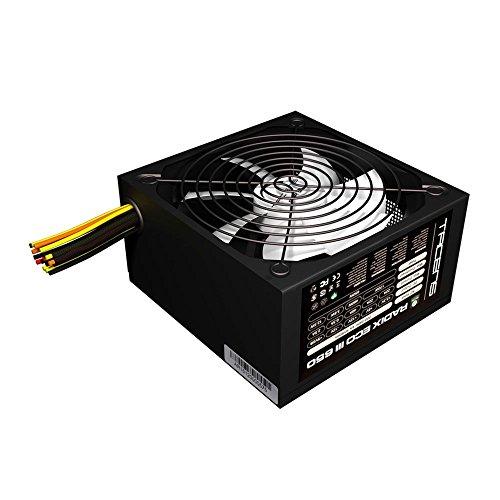 Tacens 1RECOIII650 - Fuente de alimentación para ordenador (650 W, 87% de eficiencia, ATX, 12V, ventilador 14 cm, estándares ecológicos) color negro