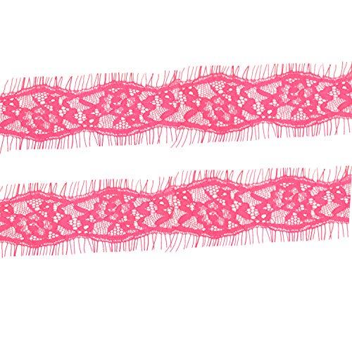 Trimming Shop 38mm Brede Vintage Bloemen Katoen Kant Trim Rand Lint voor Versiering Jurken, Onderkleding, Lingerie, Net Rokken, Haarband (3 meter, Roze)