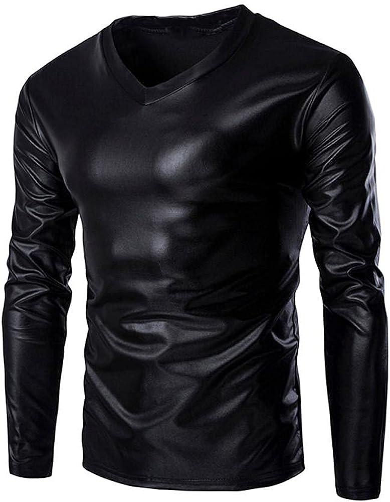 DZQUY Men's Summer Slim Fit Short Sleeve Shirts Hispter Hip Hop Shiny Metallic Tee for Nightclub Muscle Tops