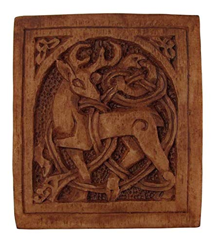 Celtic Stag Plaque Wood Finish