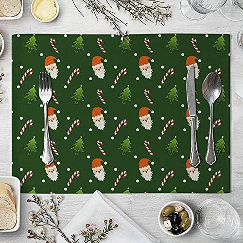 Gualiy Set di 8 Tovagliette Sottopiatto Quadrato, Tovagliette da Tavola Moderna Babbo Natale Bastoncino di Zucchero Tovagliette per Piatti 32x42cm