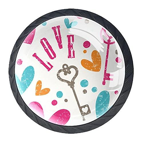 Colorido patrón de la llave del amor, 4 piezas de botones de gabinete de cocina ABS estilo Mord, asas redondas del cajón del aparador