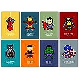 8 affiches de Super Héros, 20X30 cm