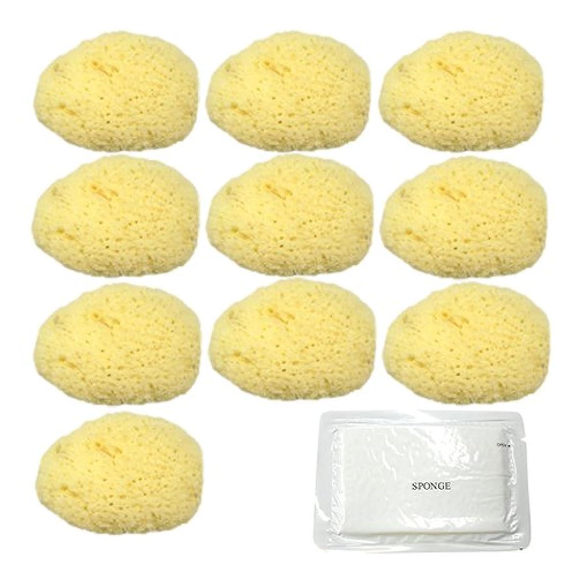 荒野毒液めんどりユタカ 天然海綿スポンジ(フェイススポンジ) 大 × 10個 + 圧縮スポンジセット