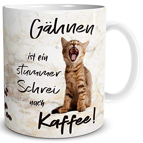 TRIOSK Tasse Katze lustig mit Kaffee Spruch Katzen Gähnen Katzenmotiv Büro Coffee Geschenk für Katzenliebhaber Frauen Freundin