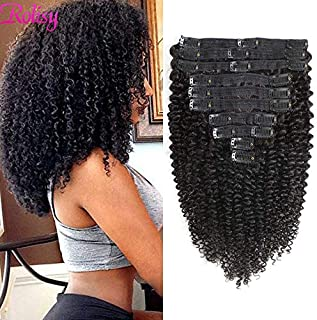 Rolisy Kinky Curly Clip in Hair Extensions,Afro 3C 4A Kinkys Curly Hair Clip Ins for Women,Thick Soft 8A Brazilian Remy Human Hair Double Lace Wefts,10/Pcs with 21 Clips,120 Gram Natural Color 16 Inch