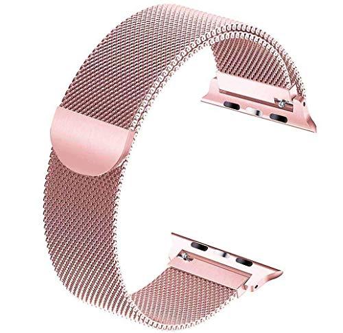 Tervoka Cinturino di ricambio compatibile con Apple Watch 44 mm 42 mm 40 mm 38 mm, cinturino in acciaio inox con magnete compatibile con iWatch Series 5/4/3/2/1 (42 mm / 44 mm, oro rosa)