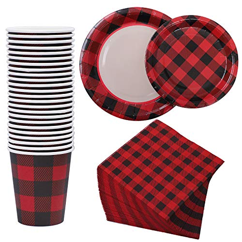 Aneco 122 Pieces Buffalo Plaid Party Supplies Party Tableware Paper Plates Cups Napkins for 24 Guests